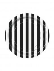 Små svart- och vitrandiga kartongtallrikar 18 cm