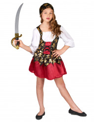 Piratdräkt med korsett och gyllene motiv för barn