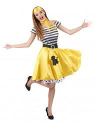 50-talsdräkt med gul kjol för vuxna till maskeraden