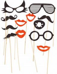 Roligt photoboothkit 12 delar med glasögon och mustasch