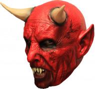 Mask 3/4 demon röd med horn och tänder