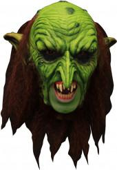 Mask 3/4 troll grön läskig med löständer