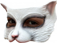 Halvtäckande mask vit katt