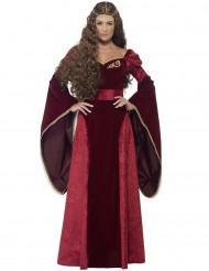Röd maskeraddräkt drottning på Medeltiden vuxen