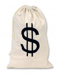 Beige säck med dollartecken 42x26 cm