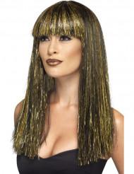 Lång egypisk peruk i svart och guld