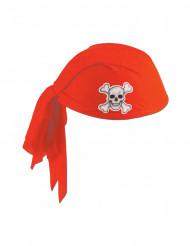 Hatt med bandana röd i polyester Pirat vuxen