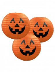 3 pumpa-papperslyktor 24 cm Halloween