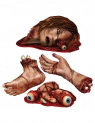 4 blodiga kroppsdelar dekorationer Halloween
