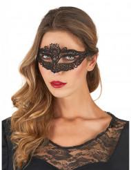 Mask med svart spets
