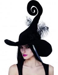 Häxhatt i svart med fjädrar för vuxna till Halloween