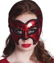 Skimrande röd mask för vuxna till Halloween