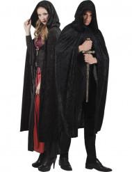 Kape svart velourseffekt 170 cm vuxen Halloween