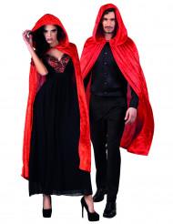 Kape röd velourseffekt 120 cm vuxen Halloween