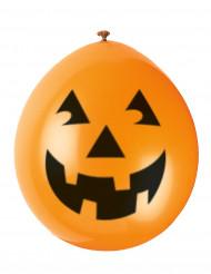 10 pumpaballonger med flin - Halloweendekoration