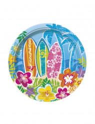 8 små pappersassietter för ett Beach party Hawaii 18 cm