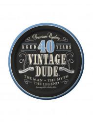 40-årig vintage dude - 8 små kartongtallrikar 18 cm