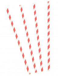 10 Röd- och vitrandiga sugrör i kartong