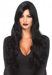 Lång svart peruk för vuxna