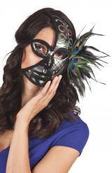 Venetiansk halvmask i svart med påfågelsfjädrar
