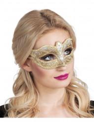 Gykllene venetiansk mask med paljetter för vuxna