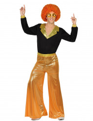 Orange holografisk discokostym herrar