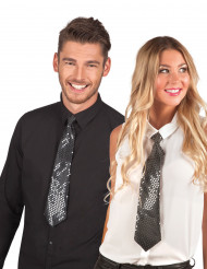 Svart glansig slips - vuxen
