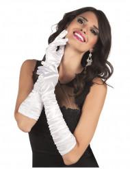 Vita långa satin handskar - Vuxenstorlek