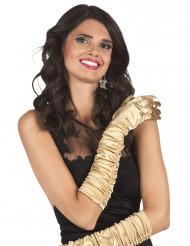 Guldfärgade långa satin handskar