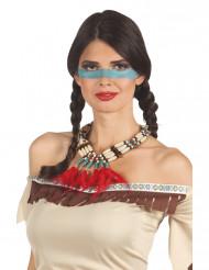 Indian halsband med röda fjädrar