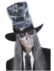 Cylinderhatt med spindelnät till Halloween