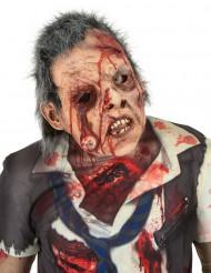 Lyxig zombiemask av latex med hår