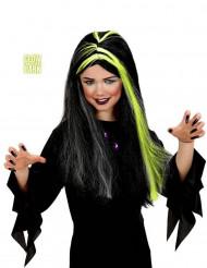 Halloweenperuk för barn i svart och vitt som är självlysande