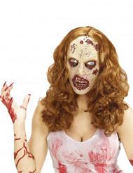 Zombie - Peruk med mask till Halloween