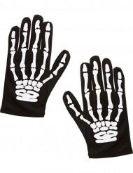 Skeletthandskar för barn till Halloween