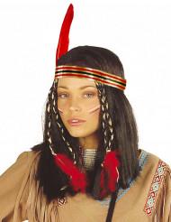 Indianperuk för vuxna med pannband