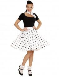 Vit prickig kjol och Scarf i 50-talsstil för vuxna