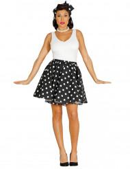 Svart kjol och scarf med prickar i 50-talsstil dam