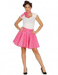 50-tals kjol rosa med scarf damstorlek