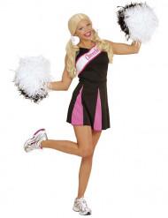 Svart och rosa maskeraddräkt cheerleader vuxen
