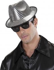 Silverfärgad borsalino hatt