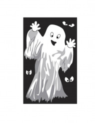 Fönsterdekoration med spöke eller skelett till Halloween