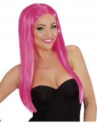 Glamourös långhårig rosa peruk