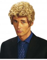 Korthårig blond lockig peruk
