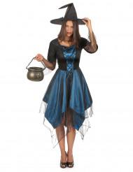 Midnattsblå maskeradräkt häxa vuxen Halloween