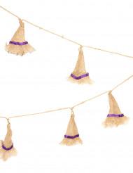 Halloweengirlang med häxhattar gjorda av juteväv - 180 cm