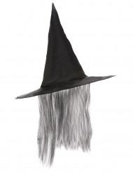 Svart häxhatt med grått hår Halloween vuxen