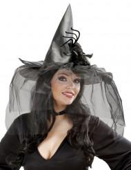 Häxhatt med tyll och spindel Halloween