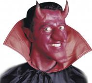 Röda djävulshorn med lim Halloween vuxen