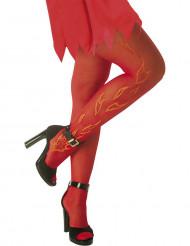 Röda strumpbyxor med eldflammor Halloween vuxen